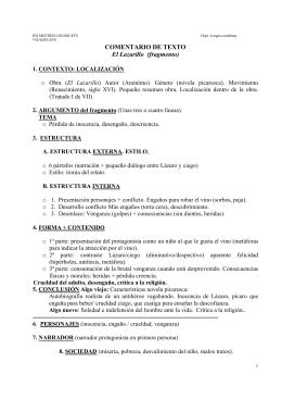 COMENTARIO DE TEXTO El Lazarillo esquema