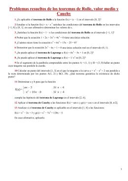 Problemas resueltos de los teoremas de Rolle, valor