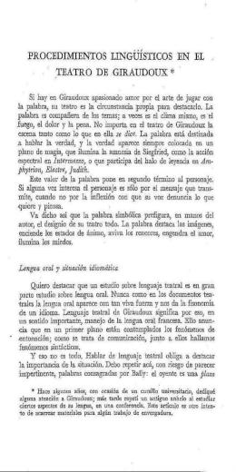 Procedimientos lingüísticos en el teatro de Giraudoux