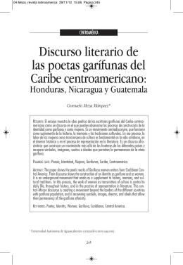Discurso literario de las poetas garífunas del Caribe centroamericano
