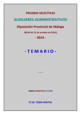 Temario Auxiliares Administrativos - Diputación de Málaga