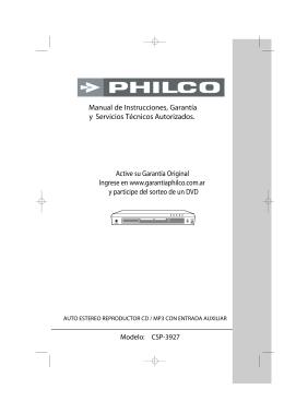 Manual de Instrucciones, Garantía y Servicios Técnicos
