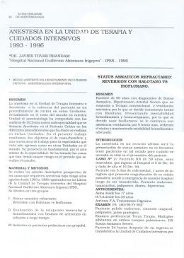 ANESTESIA EN LAUNIDi\D DE TERAPIA Y CUIDADOS