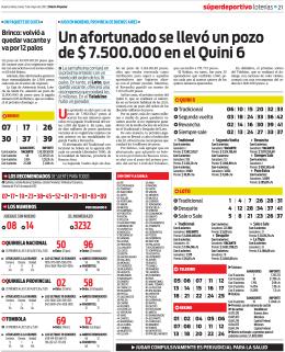 un afortunado se llevó un pozo de $ 7.500.000 en el Quini 6