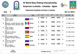 IX World Bass Fishing Championship Reservoir La Breña