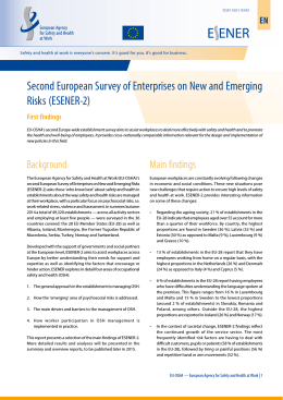 Second European Survey of Enterprises on New and Emerging Risks