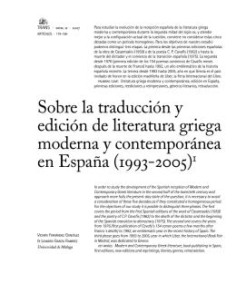 Sobre la traducción y edición de literatura griega moderna