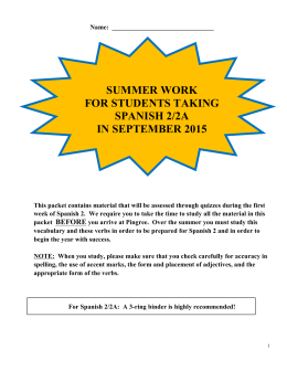 summer work for students taking spanish 2/2a in