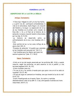 VIDRIERAS-LUZ-FE. SIGNIFICADO DE LA LUZ EN LA BIBLIA