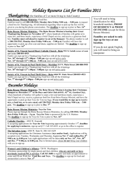 Holiday Resource List for Families 2008