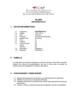 silabo estadística ii 1. datos informativos 2. sumilla 3. capacidades