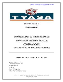 Trainee Acería II EMPRESA LIDER EL FABRICACIÓN DE