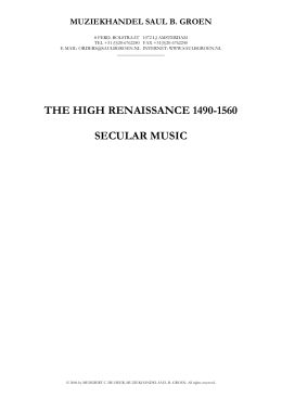 the high renaissance 1490-1560 secular music