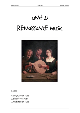 Unit 2: Renaissance music