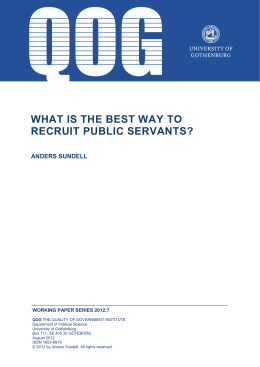 WHAT IS THE BEST WAY TO RECRUIT PUBLIC SERVANTS?
