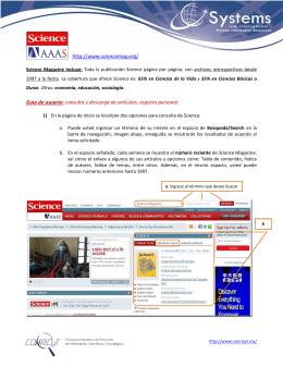 http://www.sciencemag.org/ Guía de usuario: consulta y descarga de