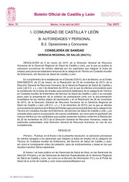 Resolución Listados Provisionales Bolsa Empleo TCAE Sacyl - SIS-cyl