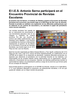 El I.E.S. Antonio Serna participará en el Encuentro Provincial de