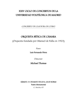 xviii ciclo de conciertos de la universidad politécnica de madrid