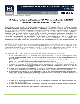 HR Ratings de México asigna calificación inicial de HR A+ al