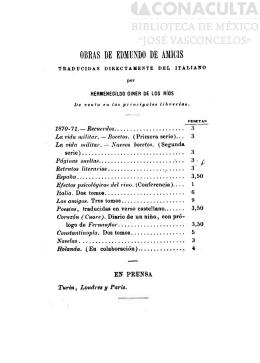 OBRAS DE EDMUNDO DE AMICIS - Biblioteca Digital Tamaulipas
