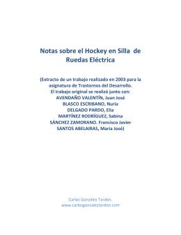 Notas sobre el hockey en silla de ruedas eléctrica. Carlos González