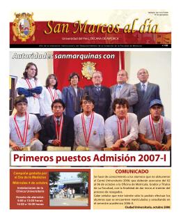 Primeros puestos Admisión 2007-I - Universidad Nacional Mayor de