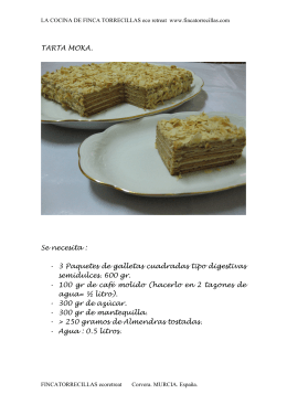 Receta TARTA MOKA recipe - Finca Torrecillas eco retreat