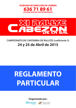 REGLAMENTO PARTICULAR - Rallye de Cabezón de la Sal 2015
