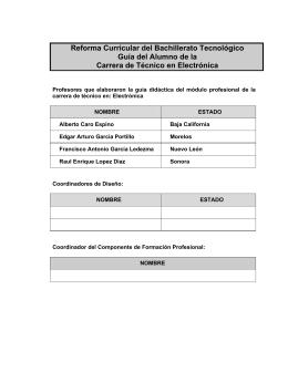 Reforma Curricular del Bachillerato Tecnológico Guía del Alumno