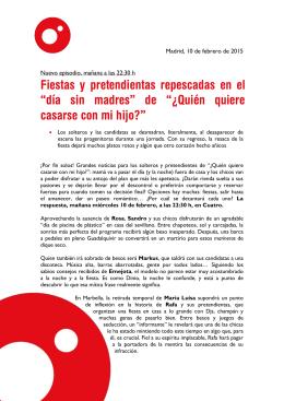 """Fiestas y pretendientas repescadas en el """"día sin madres"""