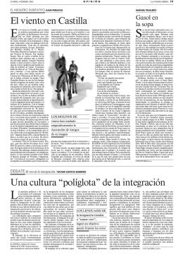 """El viento en Castilla Una cultura """"políglota"""" de la integración"""
