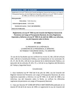 Reglamento a la Ley N° 7302 Ley de Creación del Régimen