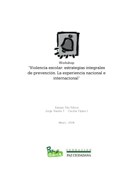 """""""Violencia escolar: estrategias integrales de prevención. La"""
