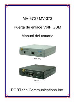 MV-370 / MV-372 Puerta de enlace VoIP GSM Manual del usuario