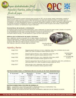 Papas deshidratadas (DH), hojuelas y harina