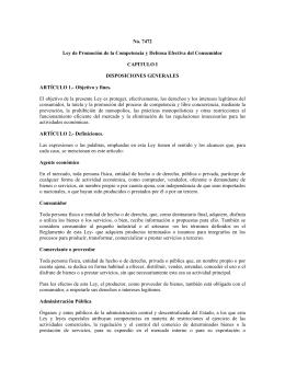 No. 7472 Ley de Promoción de la Competencia y Defensa Efectiva