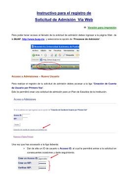 Instructivo para el registro de Solicitud de Admisión Vía Web