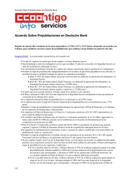 Acuerdo Sobre Prejubilaciones en Deutsche Bank - ccoo