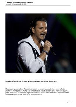 Concierto Gratis de Arjona en Guatemala