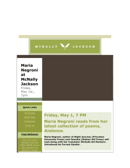 Maria Negroni at McNally Jackson Friday, May 1, 7 PM Maria