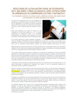 RESULTADOS DE LA EVALUACIÓN CENSAL DE ESTUDIANTES