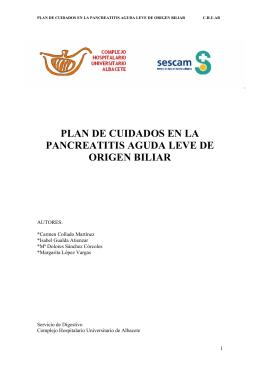 plan de cuidados en la pancreatitis aguda