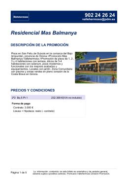 Residencial Mas Balmanya DESCRIPCIÓN DE LA PROMOCIÓN