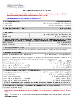 CALENDARIO ACADÉMICO CURSO 2007/2008 Para saber los