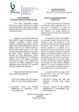BERTAN-BEHERA UTZITAKO/APARKATUTAKO IBILGAILUAK
