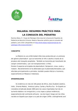malaria: resumen práctico para la consulta del pediatra