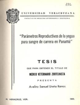 """""""Parámetros Reproductivos de la yegua pura sangre de"""