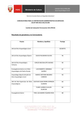 PERÚ Ministerio de Cultura - Sistema de Convocatoria CAS