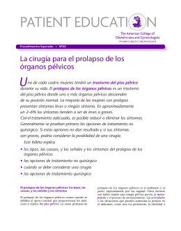 Patient Education Pamphlet, SP183, La cirugia para el prolapso de